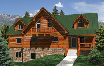 Whisper Creek Log Homes Plans! Grizzly Lofted Series